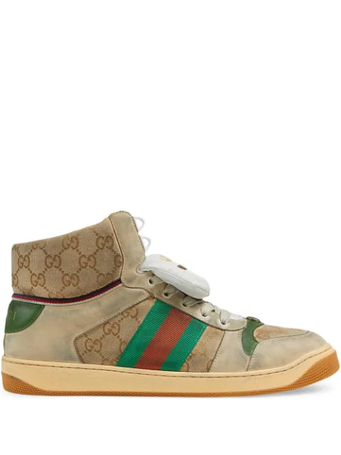 Gucci Screener Webbing-Trimmed Distressed Leather And Monogrammed Canvas High-Top Sneakers In White