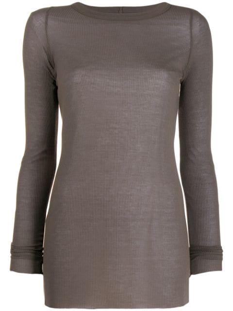 Rick Owens Long Sleeve Ribbed T-Shirt In Grey