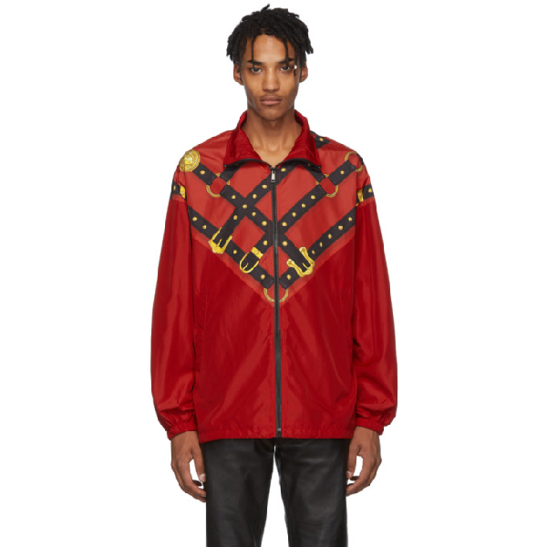 Versace Bondage Print Zip-up Techno Track Jacket In A743 Rossta