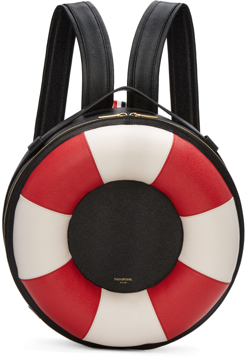 Leather Life Preserver Backpack in Black Red White