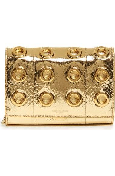 c5b463692bf5 Michael Kors Small Yasmeen Metallic Genuine Snakeskin Clutch In Gold  Metallic Ayers