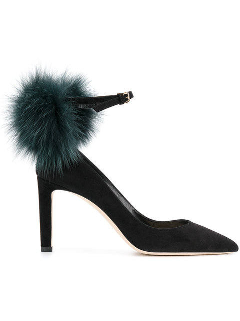 Jimmy Choo Women's Suede Pumps Court Shoes High Heel Fox Silver South In Black