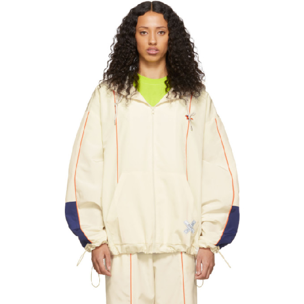 Maison KitsunÉ Maison Kitsune Off-white Ader Error Edition Line Zip-up Hoodie Jacket In Ow Offwhite