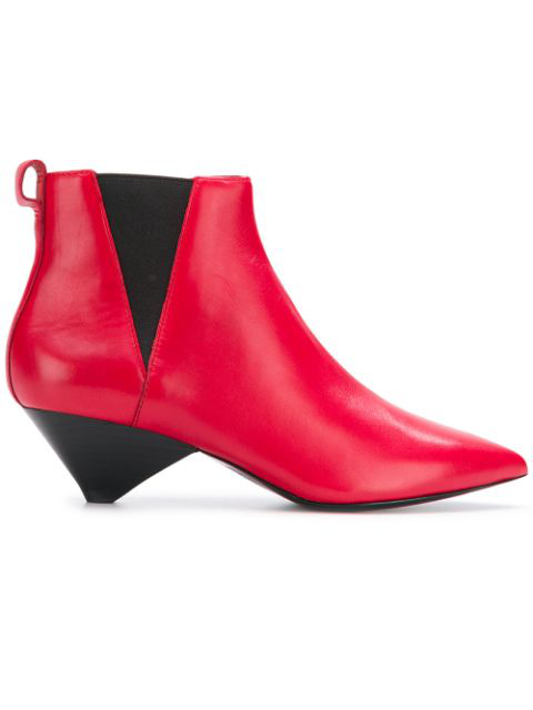 Ash Leather Ankle-boots In Red