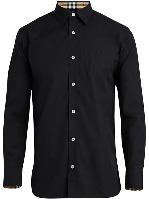 Burberry William Slim Fit Stretch Poplin Sport Shirt In Black