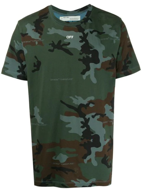 Off-White Incompiuto Camouflage-Print Cotton-Jersey T-Shirt In 9901 All Over White