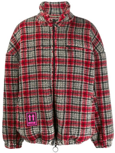Off-White Checked Acrylic Blend Casual Jacket In 2000 Red No Color