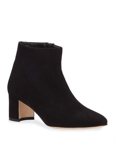 Manolo Blahnik Dilo Suede Low-Heel Booties In Black