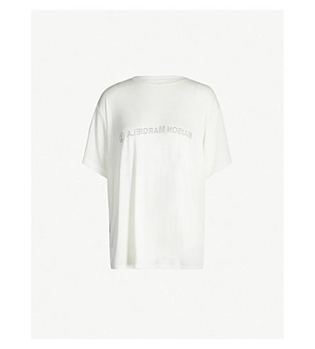 Mm6 Maison Margiela Oversized Logo-Print Jersey T-Shirt In Off White