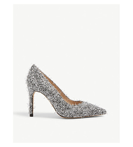 Sandro Metallic Wool-and-silk Blend Courts In Silver