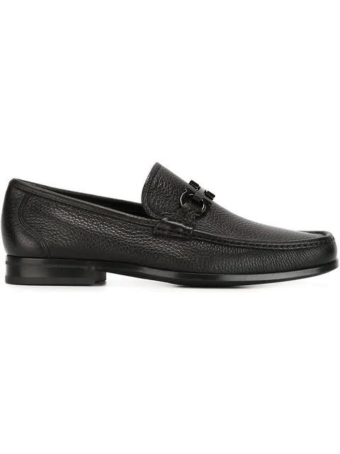 Salvatore Ferragamo Men's Grandioso Calfskin Leather Loafers With Double Gancini Bit In Nero
