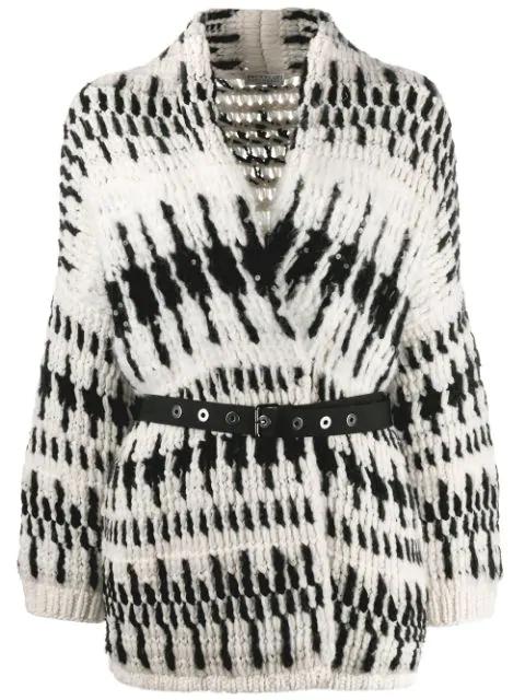 Brunello Cucinelli Cashmere-blend Grommet Belted Cardigan In Black