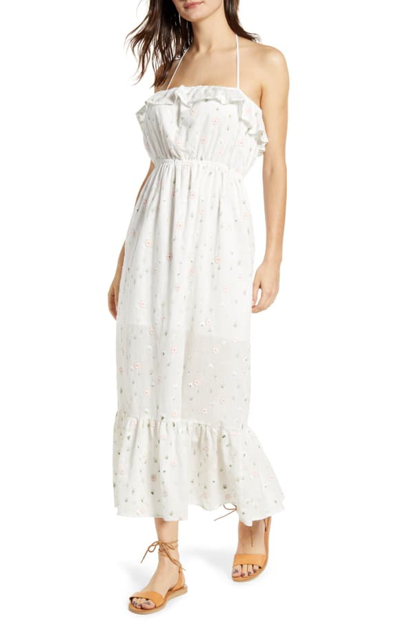 English Factory Floral Embroidery Cotton Blend Midi Dress In White