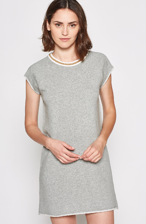 Joie Jahina Ringer Neck Short Sleeve T-Shirt Dress In Heather Grey