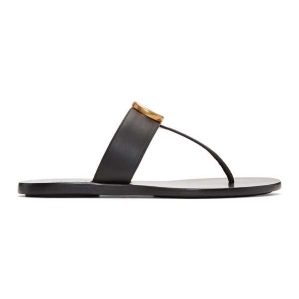 Gucci Leather Thong Sandal With Double G In Black Leather