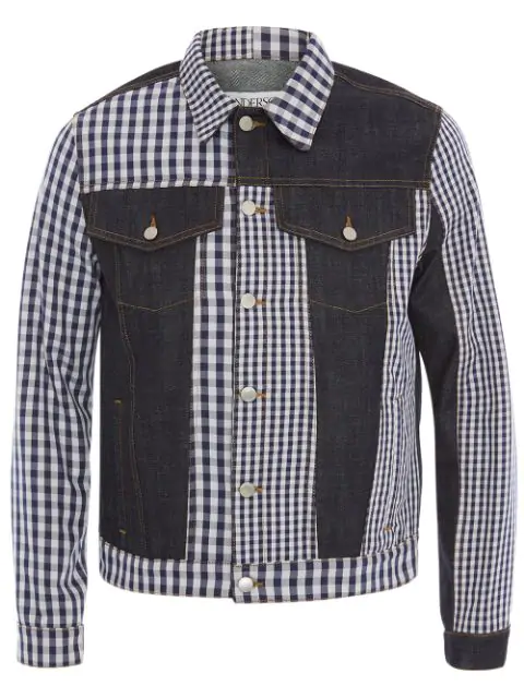 Jw Anderson Gingham Patchwork Denim Jacket In 870 Indigo