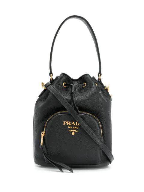 Prada Saffiano Leather Bucket Bag In Black