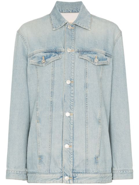 Givenchy Embroidered Logo Denim Jacket In Blue