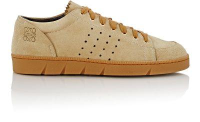 Loewe 20Mm Perforated Suede Sneakers In Beige