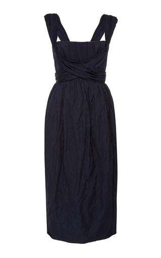Brock Collection Cotton-Poplin Midi Dress In Navy
