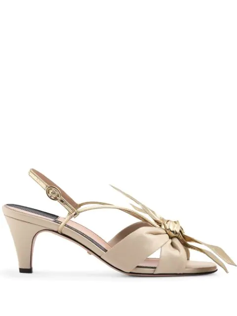 Gucci Leather Mid-Heel Sandal With Bow In Neutrals