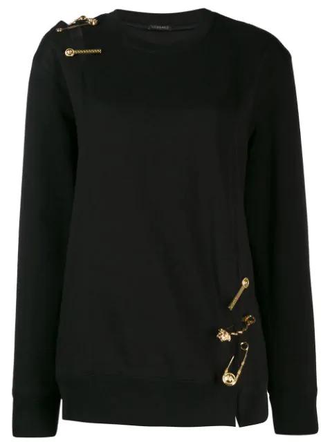 Versace Medusa Detailed Knit Jumper In Black