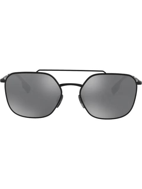 Burberry Eyewear Square Frame Aviator Sunglasses In Black