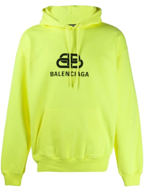 Balenciaga Logo-Print Loopback Cotton-Jersey Hoodie In Yellow