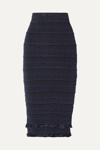 Herve Leger Fringed Jacquard-knit Midi Skirt In Midnight Blue