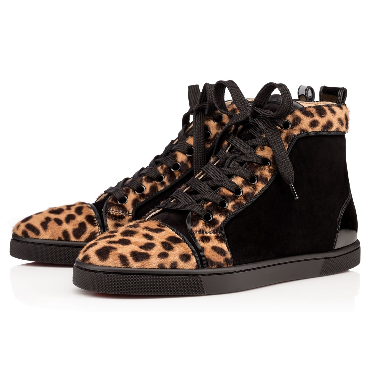 03fba3b11e9f Christian Louboutin Black And Brown Leopard Print Pony Hair  Bip Bip   High-Top