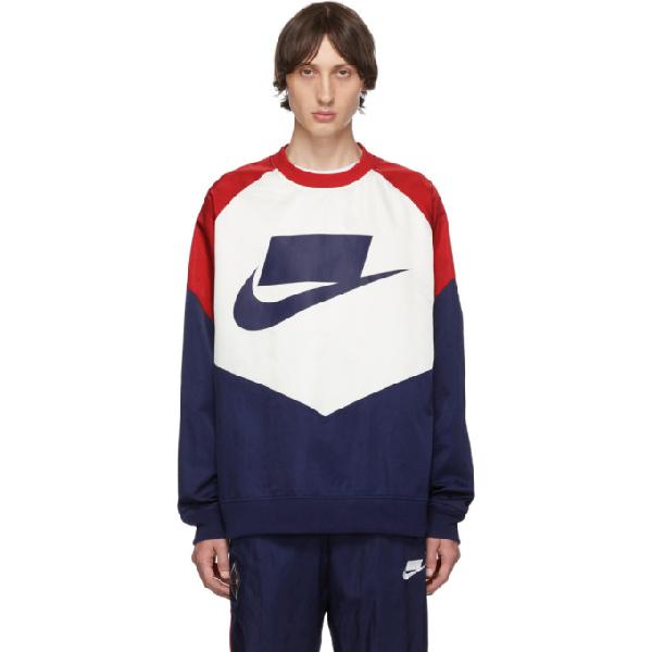 Nike Contrast Logo Sweatshirt In 492bluredsl