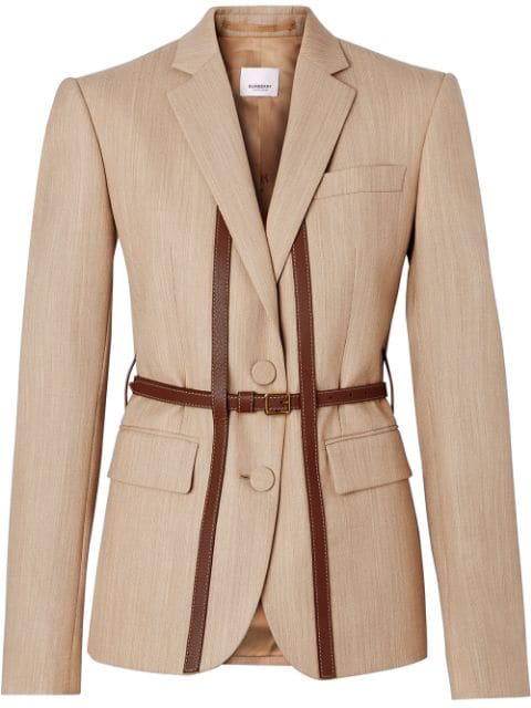 Burberry Leather Harness Detail Wool Tailored Jacket In Neutrals