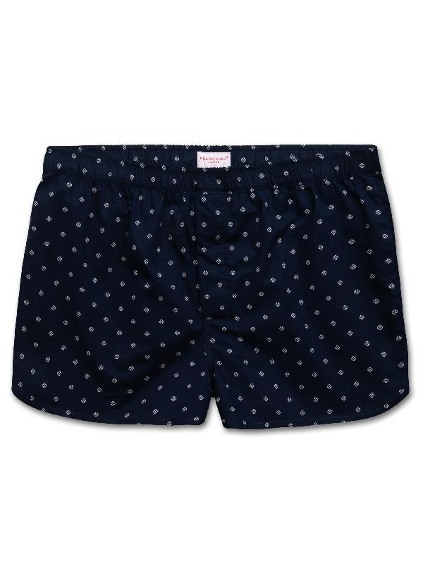 Derek Rose Nelson Printed Cotton Boxer Shorts In Navy