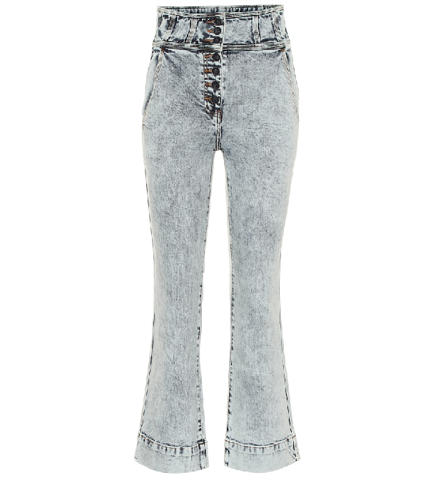 Ulla Johnson Ellis High-Rise Flared Jeans In Blue