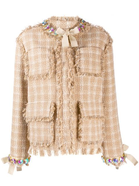 Msgm Embellished Detail Tweed Jacket In Neutrals