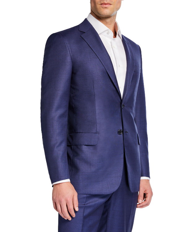 Brioni Men's High-Sheen Solid Two-Piece Suit In Blue