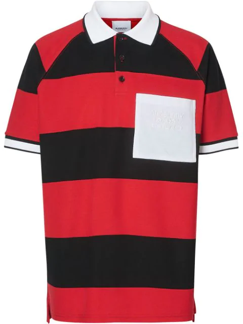 Burberry Striped Cotton PiquÉ Oversized Polo Shirt In Red