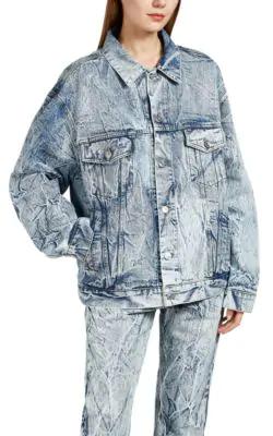 Balenciaga Logo-Embroidered Oversized Denim Jacket In Dk. Blue