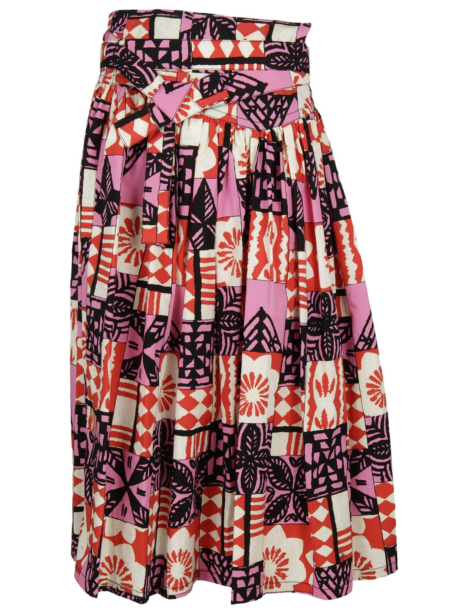 Marc Jacobs Multicolor Cotton Skirt In Pink Multi