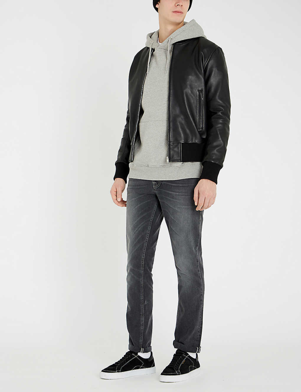 Sandro Leather Bomber Jacket In Black
