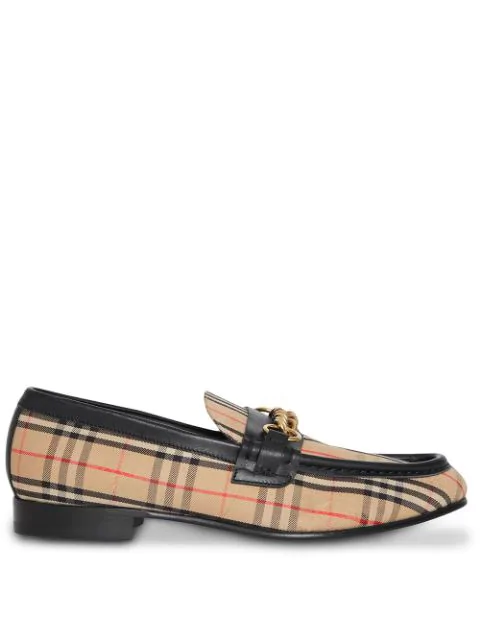 Burberry 10Mm Moorley Check & Leather Loafers In Yellow