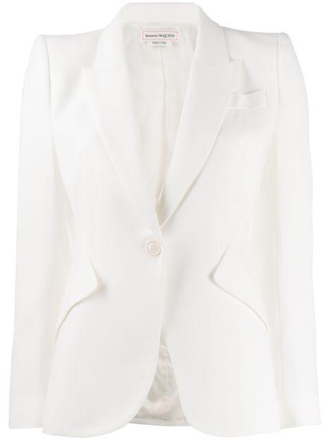 Alexander Mcqueen Grain De Poudre Wool Blazer In White