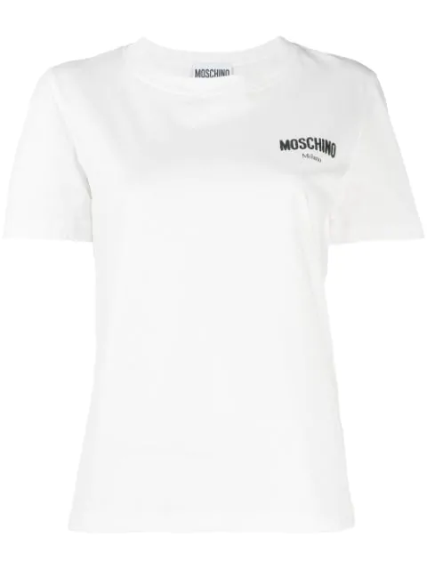 Moschino Logo Embroidered Performance T-shirt In White
