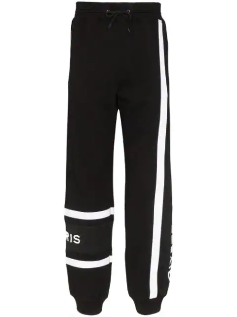 Givenchy Slim-fit Tapered Logo-embroidered Striped Loopback Cotton-jersey Sweatpants In Black