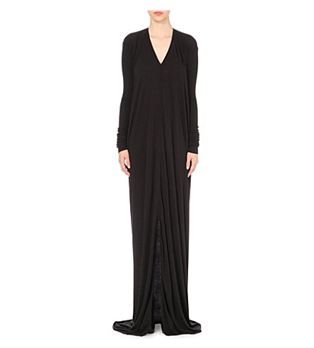 Rick Owens V-Neck Draped Jersey Gown In Black