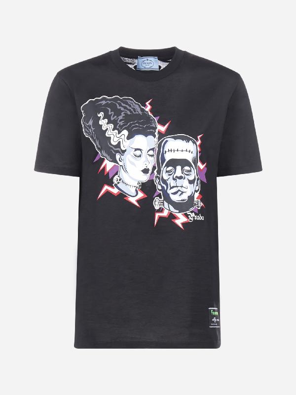 Prada T-Shirt In Cotone Con Stampa In Nero Pervinca