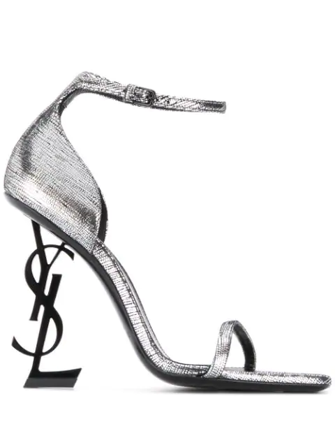 Saint Laurent Opyum Sandals In Metallic Leather With A Black Heel (110) In Silver