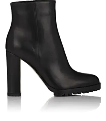 Gianvito Rossi Leather Side-Zip Ankle Boots - Black