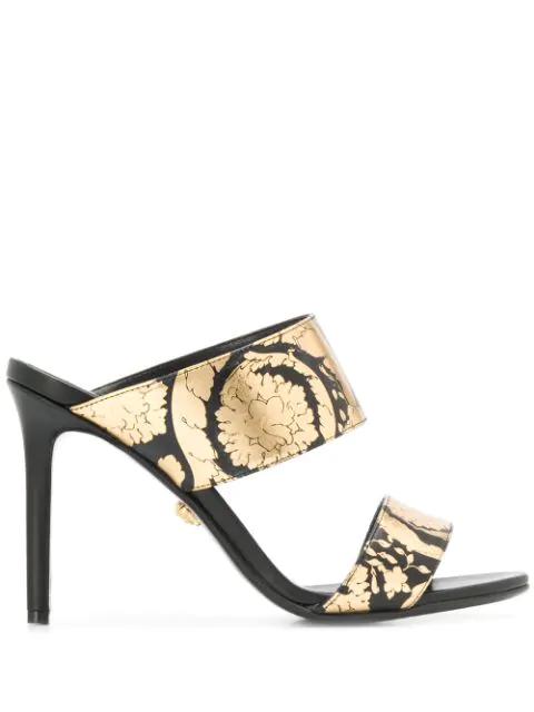 Versace Golden Hibiscus Print Sandals In Black
