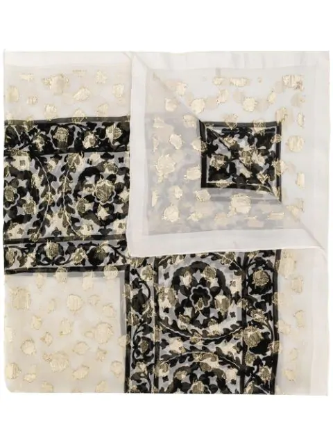 Pre-owned Saint Laurent Floral Pattern Scarf In White